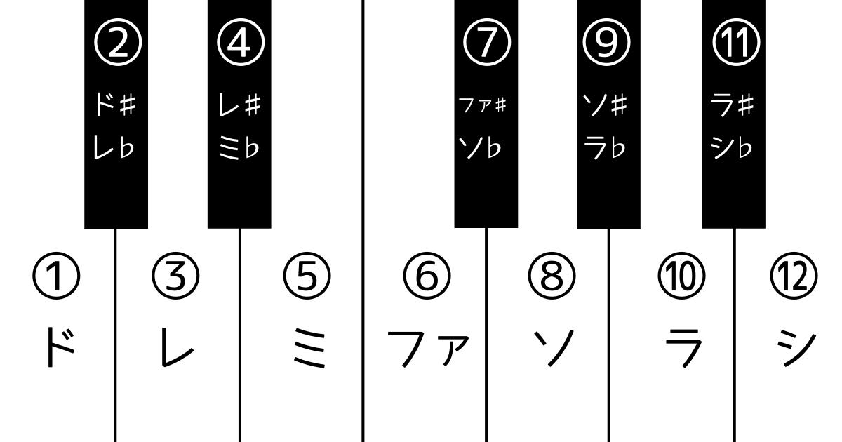 音を12個並べた図